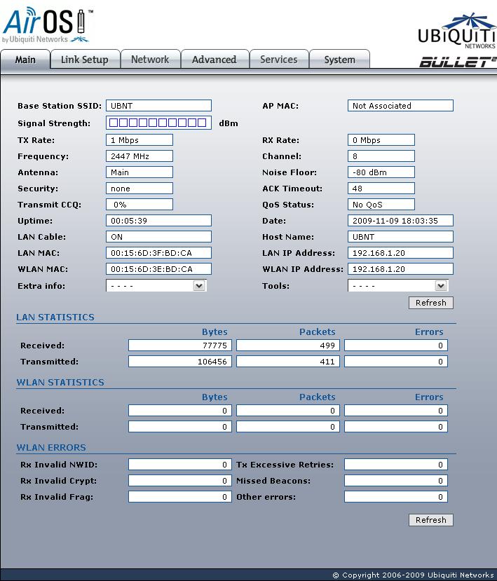 Ubiquiti Bullet2 Main page