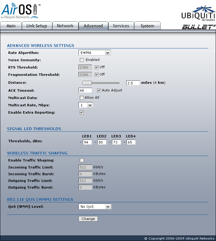 Ubiquiti Bullet2 Advanced page