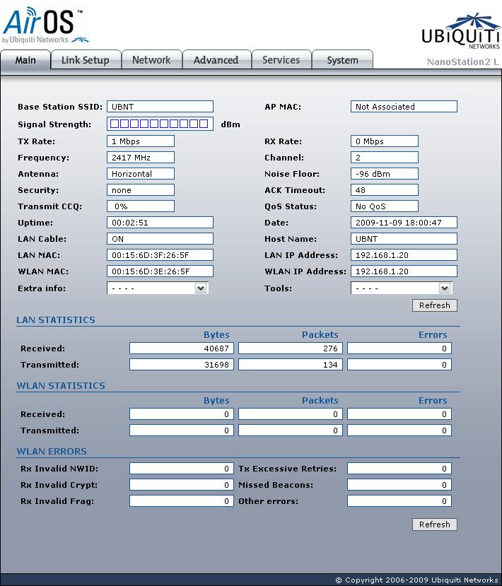 Ubiquiti Nanostation2 Loco Main page