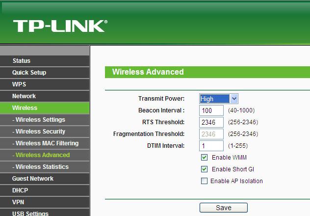 Настройка максимальной мощности TP-Link