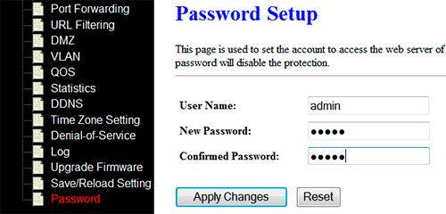 Настройка пароля администратора Alfa AIP-W525H