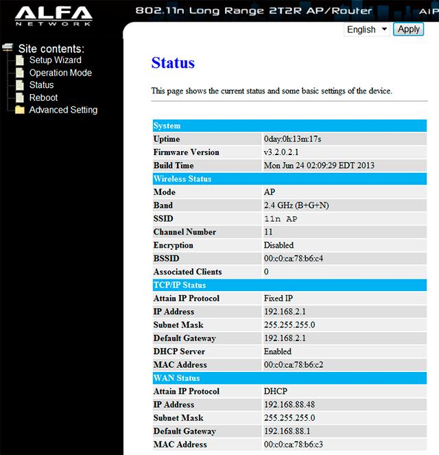 Меню настройки роутера Alfa AIP-W525H