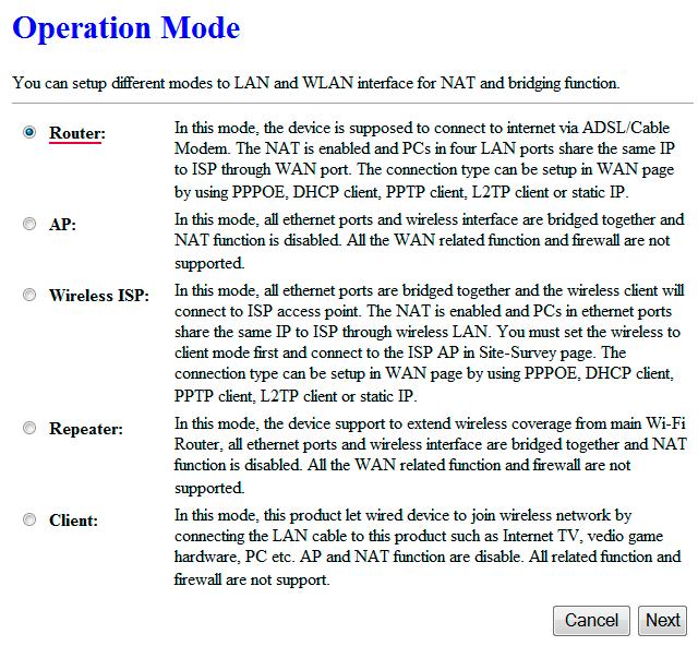 Режимы работы роутера Alfa AIP-W525H
