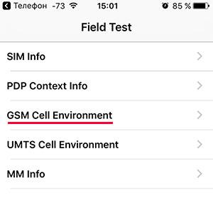Меню Field Test в iPhone