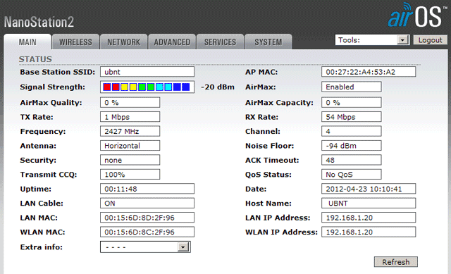 Параметры AirMax подключения NanoStation2