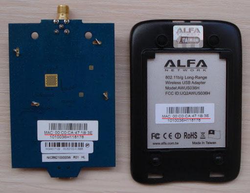 MAC адрес на оригинальной плате и корпусе Alfa Network