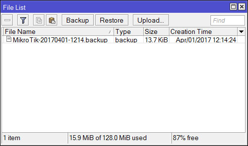 Файл с бэкапом настроек MikroTik