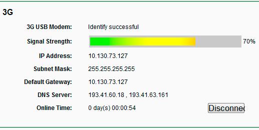 Статус подключения 3G модема на роутере TP-Link
