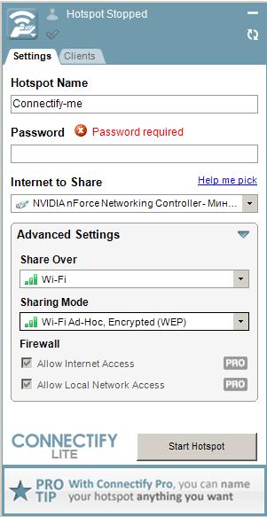 Настройки Connectify