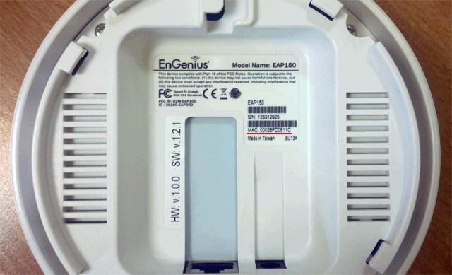 MAC адрес на наклейке EnGenius EAP150