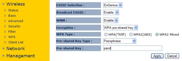 Настройка пароля для точки доступа EnGenius EAP150