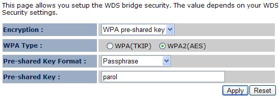 Настройка шифрования WDS
