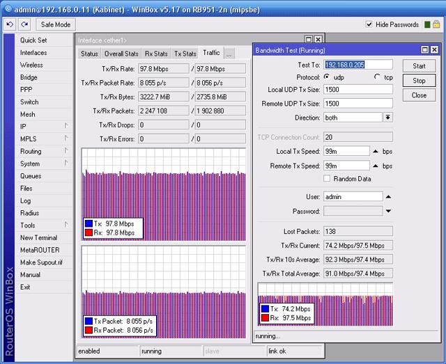Двунаправленный тест пропускной способности EnGenius ENH202