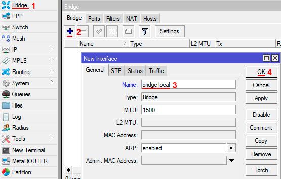 Добавляем Bridge интерфейс в MikroTik