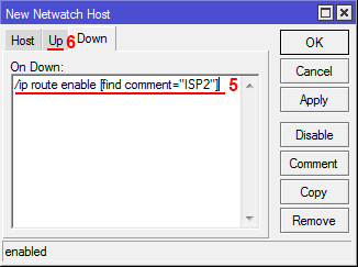 Настройка Netwatch Down в MikroTik