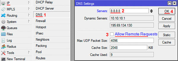 Настройка DNS в MikroTik