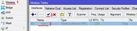 Включить Wi-Fi интерфейс микротик