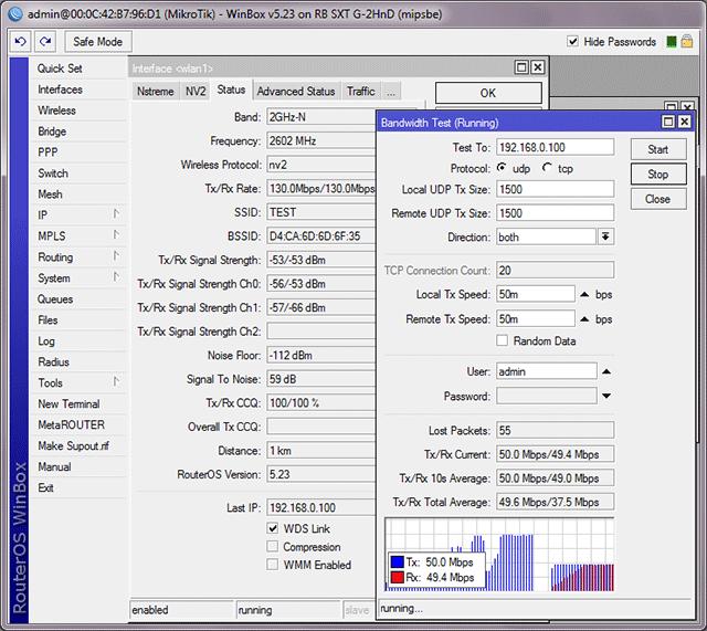 Тест MikroTik SXT G-2HnD в дуплексе на 20 Мгц