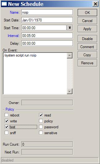 MikroTik: Настройка параметров задачи планировщика