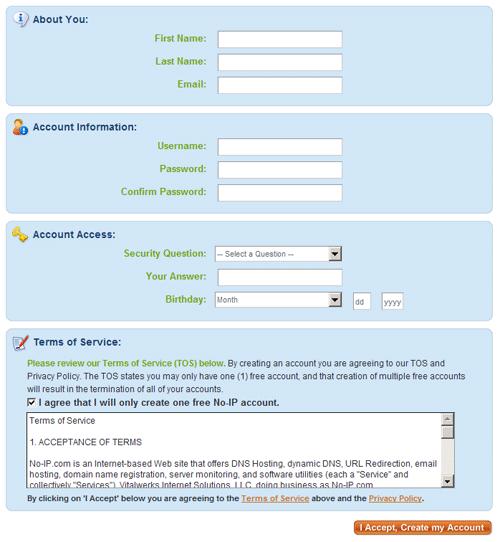 No-IP: Вводим информацию для регистрации