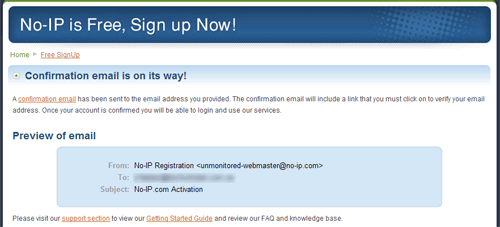 No-IP: Подтвердите регистрацию