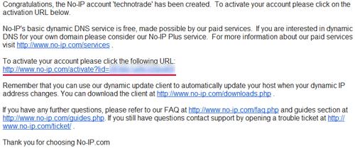 Подтверждаем регистрацию на сервисе No-IP
