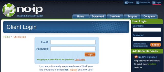 No-IP: Вводим email и пароль