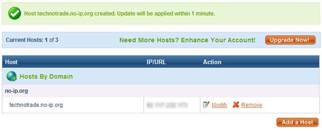 No-IP: Доменное имя успешно создано