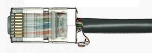 Экранированный коннектор RJ-45 с креплением проводника заземления
