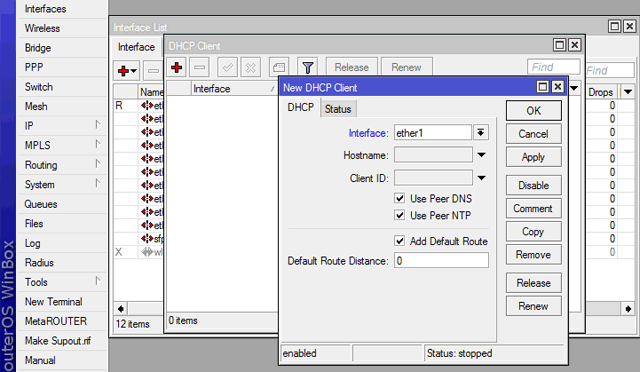 Настройка MikroTik DHCP Client