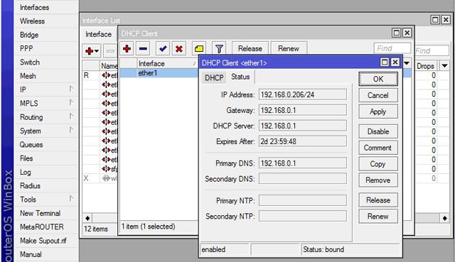 Status DHCP MikroTik