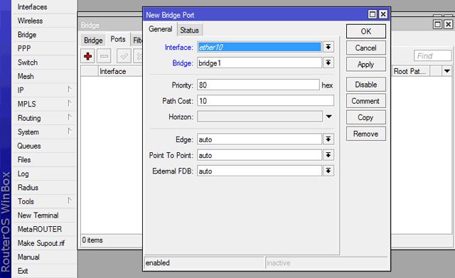 Добавление портов в интерфейс Bridge HotSpot
