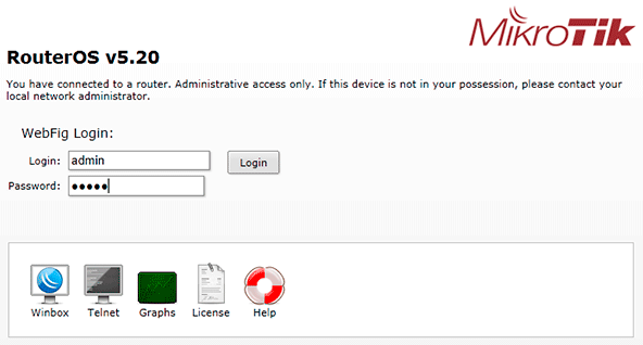 MikroTik QuickSet - Вход в настройки