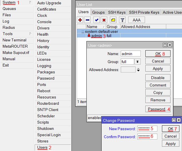 Изменение пароля доступа к роутеру MiktoTik
