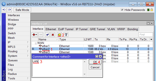 Описание LAN интерфейса MikroTik