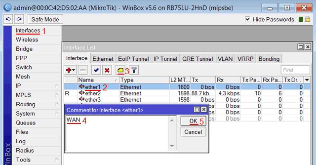 Описание WAN интерфейса MikroTik