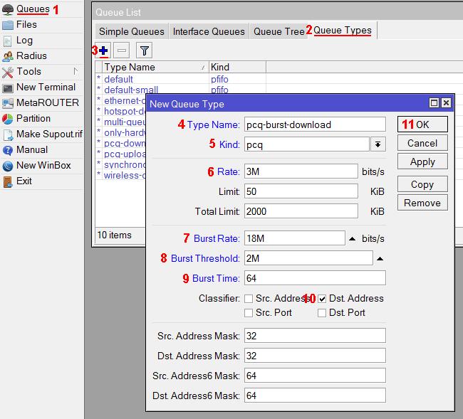 Настройка pcq burst очереди на загрузку в MikroTik