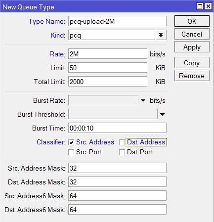 Настройка pcq очереди на отдачу с ограничением 2 Мбит/с в MikroTik