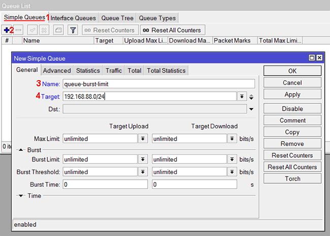 Настройка Burst ограничения для подсети в MikroTik