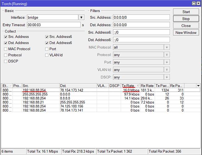 MikroTik - сортировка IP адресов по потреблению трафика