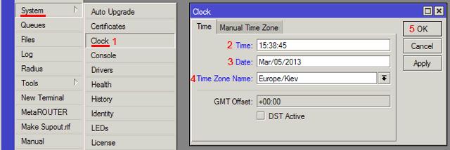 Как настроить время MikroTik