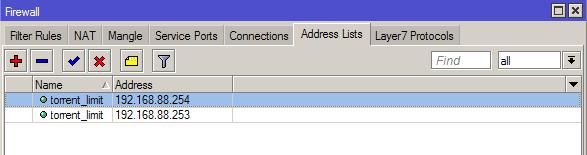 Список адресов в MikroTik
