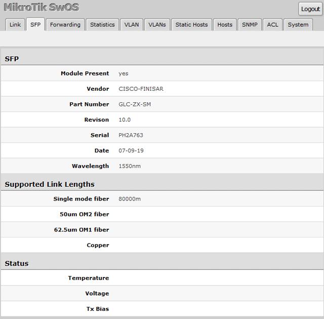 Подключение SFP модуля CISCO к управляемому коммутатору MikroTik RB260GS