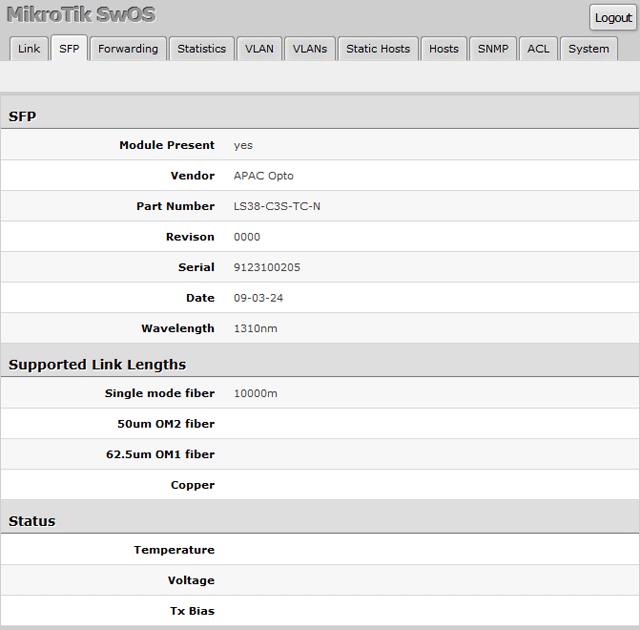 Подключение APAC Opto к MikroTik RB260GS
