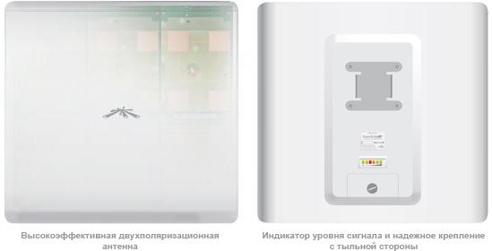 PowerBridge M5 антенна и вид сзади