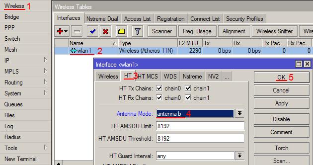Включить внешнюю антенну MikroTik RB751