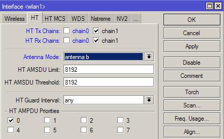 Включить работу только внешней антенны RB751