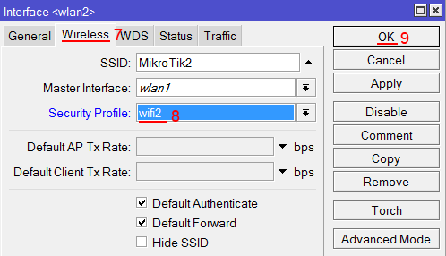 Выбор профиля безопасности Wi-Fi точки  MikroTik