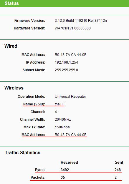 Статус точки доступа Tp-Link