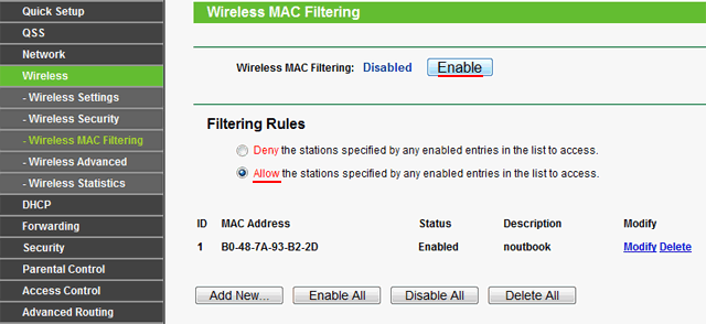 Включить фильтрацию по MAC адресам в роутере Tp-Link